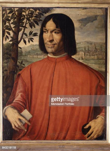 Italy Tuscany Florence Museo degli Argenti Whole artwork view Lorenzo de' Medici in elegant red dress In the background the walled city of Florence