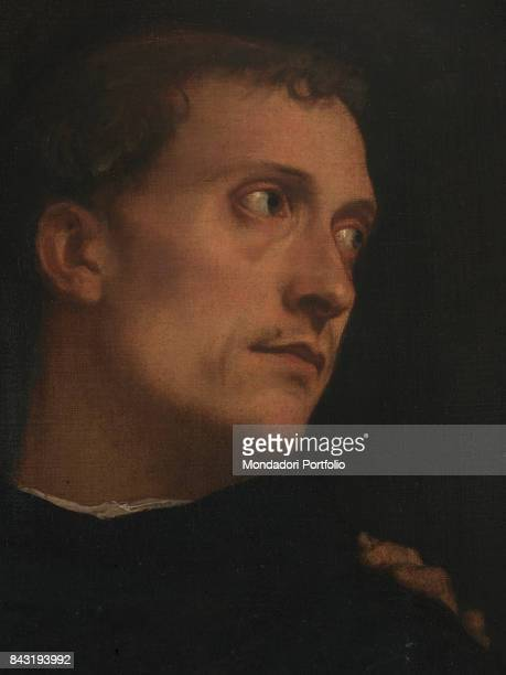 Italy Tuscany Florence Palazzo Pitti Palatine Gallery Detail Face of a man in the center
