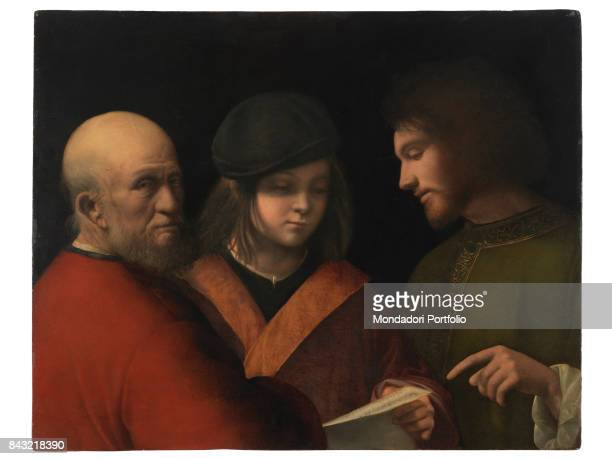 Italy Tuscany Florence Palazzo Pitti Palatine Gallery Whole artwork view Triple portrait three ages of man personification bearded man beard old man...