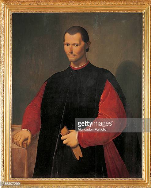 Italy Tuscany Florence Palazzo Vecchio Whole artwork view Threequarter view portrait of the italian politician and writer in a red rope with a black...