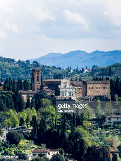 italy, tuscany, florence, panorama of the church of san miniato al monte from the florence cathedral - san miniato stock pictures, royalty-free photos & images