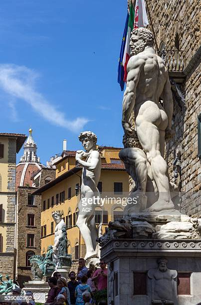 Italy Tuscany Florence Piazza della Signoria Hercules and Cacus statue and David by Michelangelo