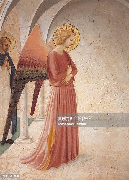 Italy, Tuscany, Florence, Saint Mark Museum, Cloister. Detail. Archangel Gabriel with St. Dominic in the background who attends the scene in prayer.