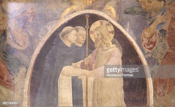 Italy, Tuscany, Florence, San Marco Museum, Convent. Detail. The figure of Christ, with stick and fur clothes, greeted by two monks.