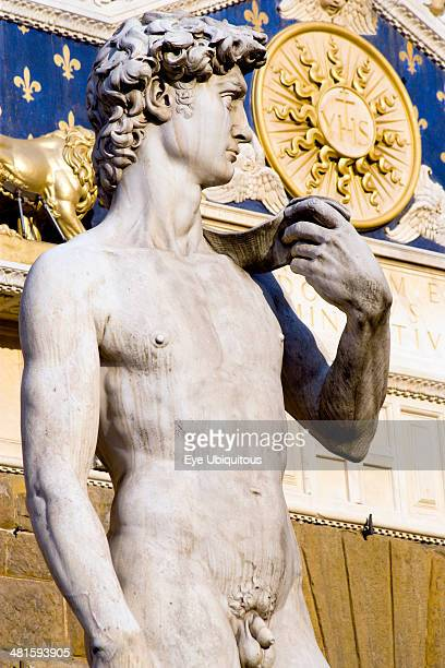 Italy, Tuscany, Florence, The copy of the statue of David by Michelangelo standing outside the Palazzo Vecchio in the Piazza della Signoria.