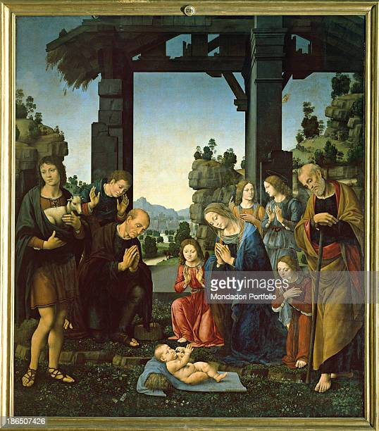 Italy Tuscany Florence Uffizi Gallery Whole artwork view Naked Baby Jesus is laying on a veil on a meadow Around him three sheperds stand in...
