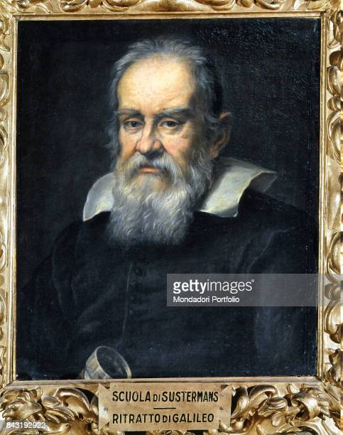 Italy Tuscany Florence Uffizi Gallery Whole artwork view Portrait of Italian physician and astronomer Galileo Galilei holding a telescope