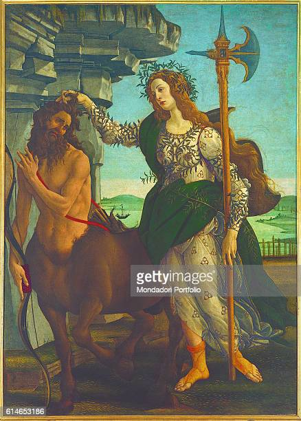 Italy Tuscany Florence Uffizi GalleryWoman crown entwined branches seize lock of hair Centaur hand arm face rinceaux man beard