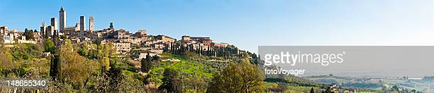Italy Tuscany historic hill top town overlooking vineyards San Gimignano