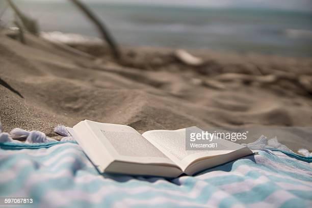Italy, Tuscany, Maremma, book on beach towel