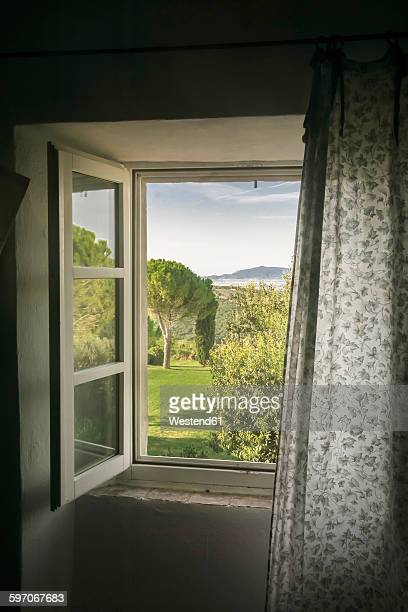 Italy, Tuscany, Maremma, view out of window to rural landscape