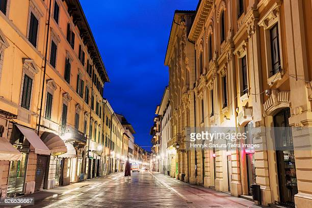 Italy, Tuscany, Pisa, Old town street at night
