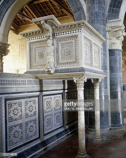 Italy - Tuscany region - Florence - Basilica of San Miniato al Monte. Interior, Romanic pulpit, 13th century.