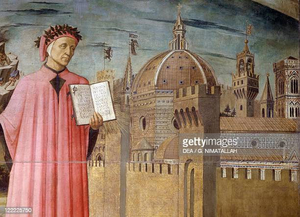 Italy Tuscany Region Florence Cathedral Domenico di Michelino Portrait of Dante Alighieri Florence and the allegory of the Divine Comedy detail...
