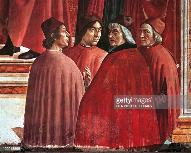 Italy Tuscany Region Florence Santa Maria Novella Chapel Maggiore or Tornabuoni Domenico Ghirlandaio Stories of the Virgin Mary Annunciation to...