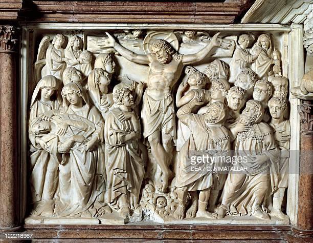 Italy - Tuscany region - Pisa, Piazza dei Miracoli - Baptistry of Saint John. Nicola Pisano , Pulpit, 1260. Detail, panel with Scenes from Life of...