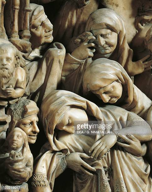 Italy Tuscany region Siena Cathedral Nicola Pisano Pulpit 12651269 Detail marble panel with Crucifixion