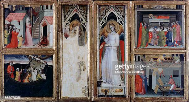 Italy Tuscany San Gimignano Civic Collection Whole artwork view Polyptych having in the middle two pictures of Santa Fina standing the one on the...