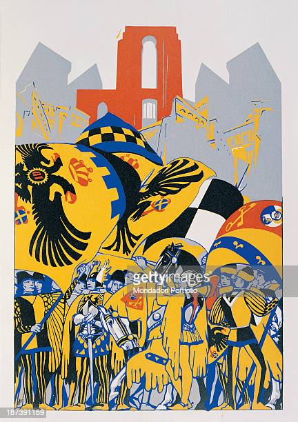 Italy Tuscany Siena All Depiction of Palio of Siena in red yellow black and blue with riders banner horsemen flags coats of arms flag flyers and on...