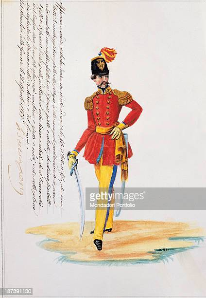 Italy Tuscany Siena Archivio Storico del Comune All A man with big moustaches wears a military uniform with red jacket and yellow buttons yellow...