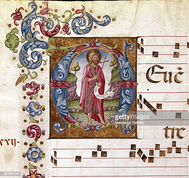 Italy Tuscany Siena Cattedrale di Santa Maria Assunta Duomo Libreria Piccolomini Detail An illuminated page with staff notes and lyrics of a chorale...