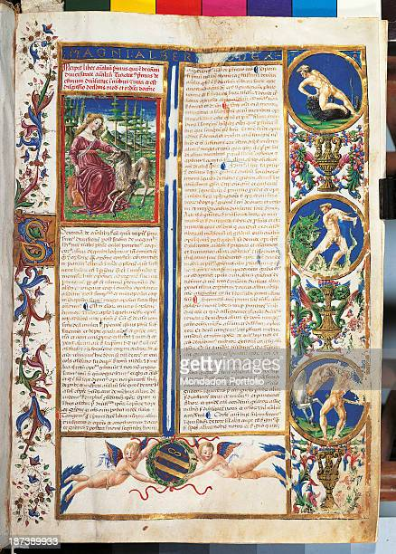Italy Tuscany Siena Museo Aurelio Castelli All An illuminated page of a medieval treaty with a representation of a lady seated next to a unicorn on...