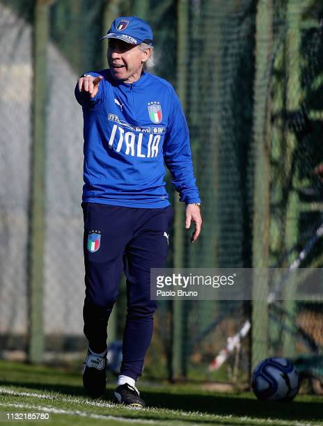 Italy U16 head coach Daniele Zoratto gestures during the International Friendly match between Italy U16 and Germany U16 on March 23 2019 in Albano...