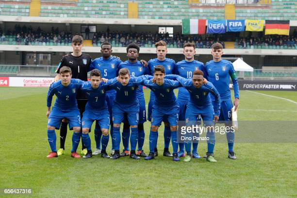 Italy U16 players poses before the U16 international friendly match between Italy U16 and Germany U16 at Stadio Marc'Antonio Bentegodi on March 22...