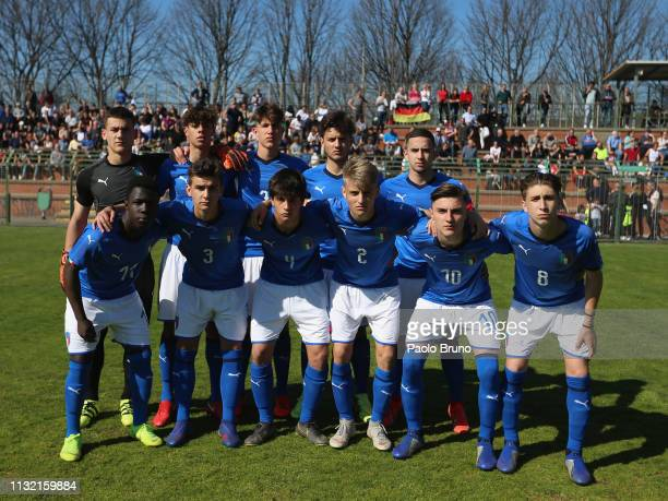 Italy U16 team poses during the International Friendly match between Italy U16 and Germany U16 on March 23 2019 in Albano Laziale Italy