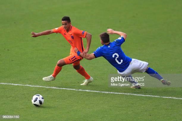 Italy U17's Alberto Barazzetta and Netherlands U17's Mohammed Ihattaren Italy v Netherlands UEFA European U17 Championship Final AESSEAL New York...