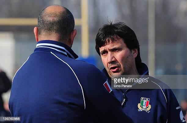 Italy U18 head coach Vincenzo Troiani looks on during the U18 rugby test match between Italy U18 and Ireland U18 on February 18 2012 in Badia...