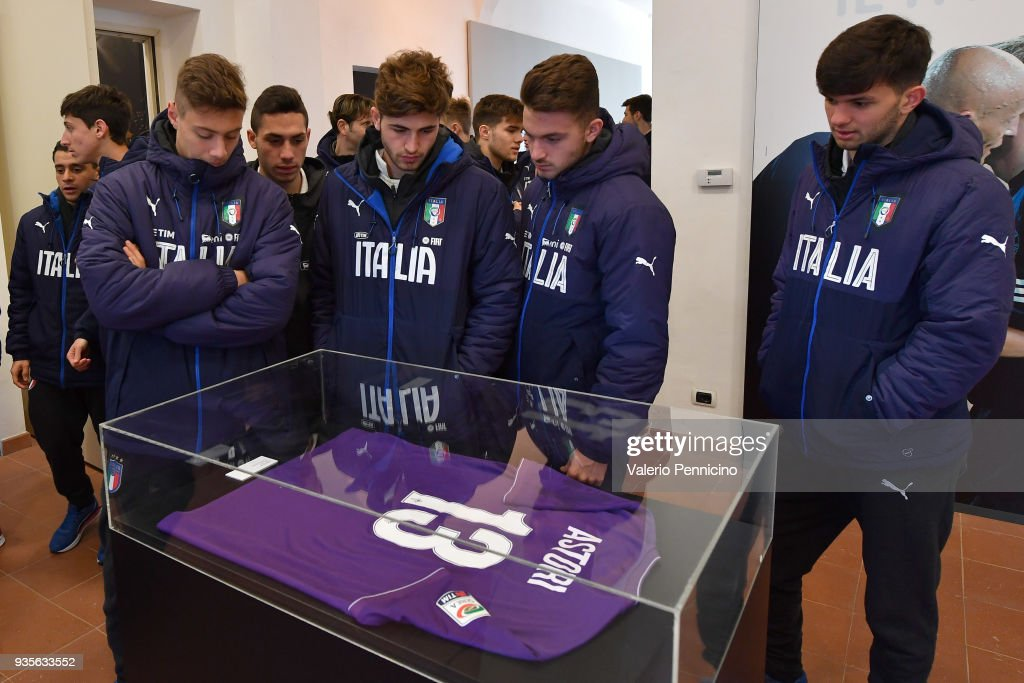 Italy U18 Visit The 'Silvio Piola' Exhibition