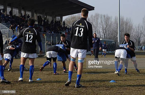 Italy U18 players warm up before the U18 rugby test match between Italy U18 and Ireland U18 on February 18 2012 in Badia Polesine Italy
