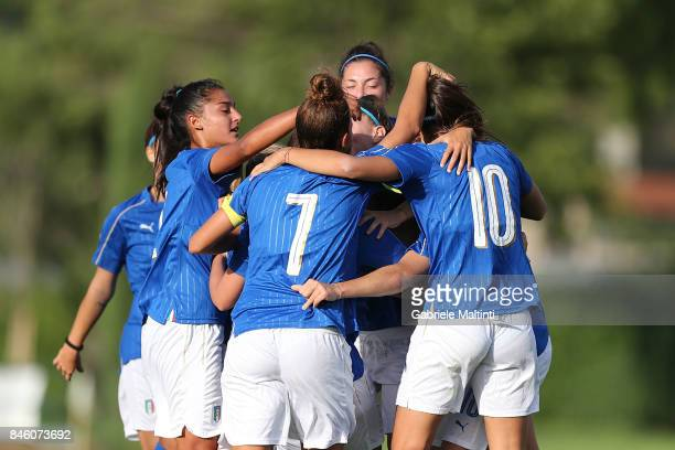 Italy U19 players celebrate a goal scored by Elisa Polli during the match between Italy U19 and Spain U19 on September 12 2017 in Florence Italy