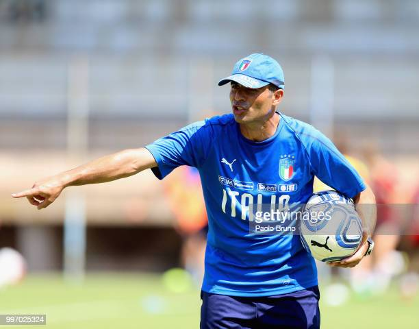 Italy U19 w head coach Enrico Sbardella gestures during the Italy women U19 photocall and training session on July 12 2018 in Formia Italy