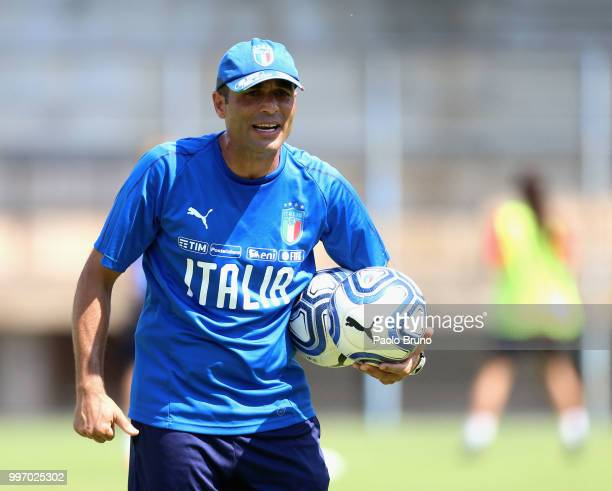 Italy U19 w head coach Enrico Sbardella looks on during the Italy women U19 photocall and training session on July 12 2018 in Formia Italy