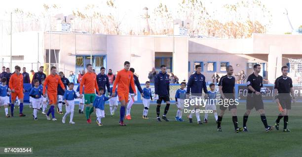 Italy U20 and Netherlands U20 players enter on the fireldb before the 8 Nations Tournament match between Italy U20 and Netherlands U20 at Stadio G...