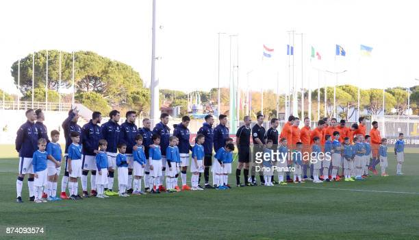 Italy U20 and Netherlands U20 players poses before the 8 Nations Tournament match between Italy U20 and Netherlands U20 at Stadio G Teghil on...