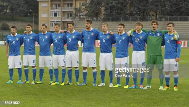 Italy U20 players pose for a team photograph before the 'Quattro nazioni' tournament match between Italy U20 and Germany U20 at Stadio Quercia on...