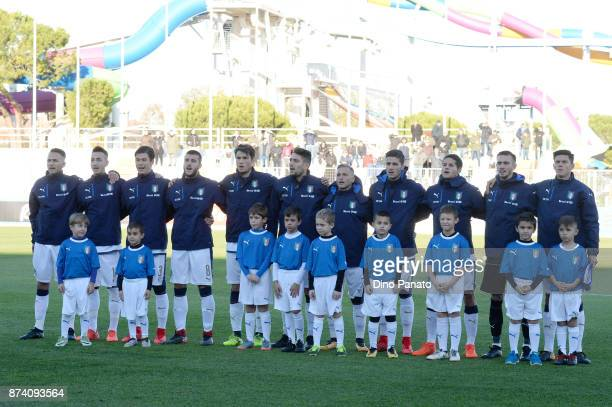 Italy U20 players poses before the 8 Nations Tournament match between Italy U20 and Netherlands U20 at Stadio G Teghil on November 14 2017 in Lignano...