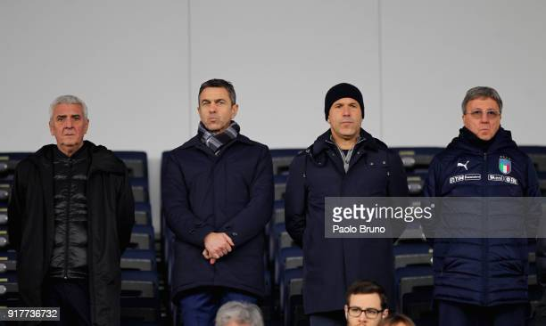 Italy U20 team manager Evaristo Beccalossi Alessandro Costacurta of FIGC Italy head coach Luigi Di Biagio and Mauro Sandreani of FIGC look on during...