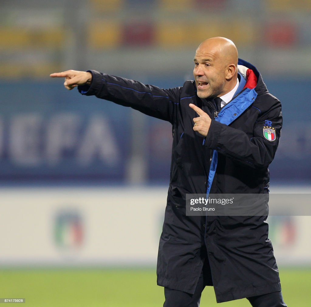 Italy U21 head coach Luigi Di Biagio gestures during the international friendly match between Italy U21 and Russia U21 on November 14, 2017 in Frosinone, Italy.