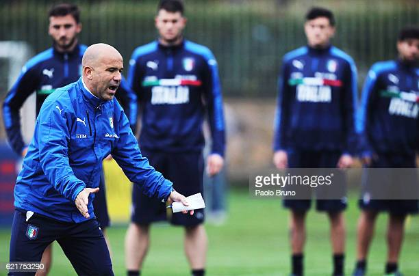 Italy U21 head coach Luigi Di Biagio gestures during the Italy U21 training session on November 8 2016 in Rome Italy