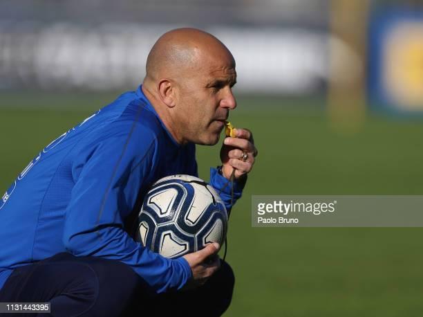 Italy U21 head coach Luigi Di Biagio looks on during an Italy U21 training session ahead of their under-21 international match against Austria U21 at...