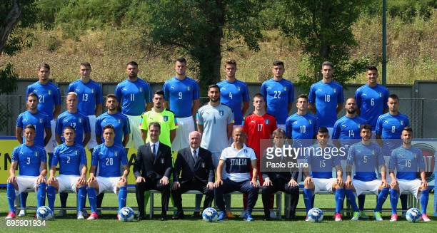 Italy U21 team pose during the official team photo at Centro Sportivo Fulvio Bernardini on June 14 2017 in Rome Italy