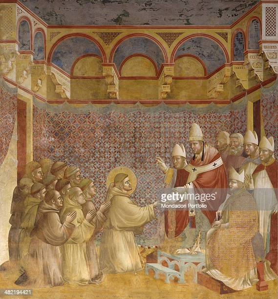 Italy Umbria Assisi Papal Basilica of San Francesco Upper Church Detail Saint Francis with some friars kneeling in front of the Pope and Bishops...