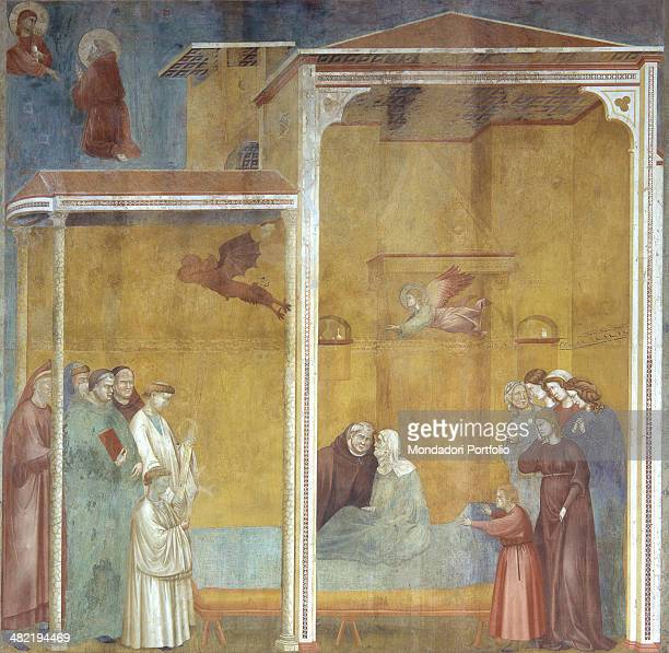 Italy Umbria Assisi Papal Basilica of San Francesco Upper Church Whole artwork view In an interior saint Francis listen to the confession of a woman...