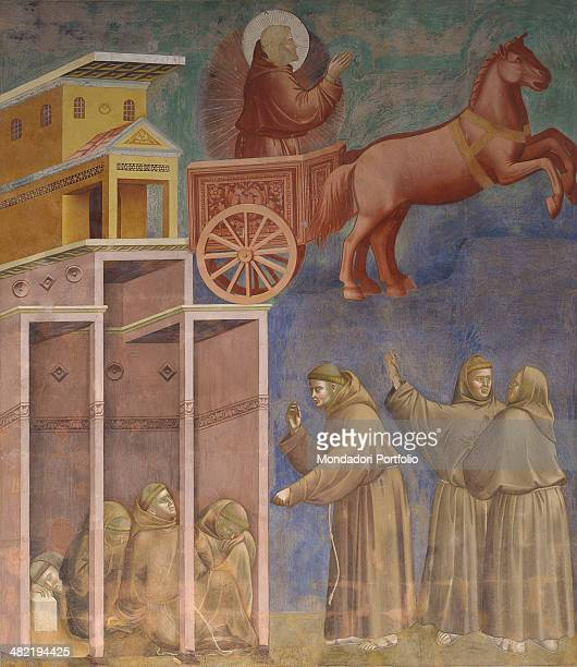 Italy Umbria Assisi Papal Basilica of San Francesco Upper Church Detail St Francis in the sky on a chariot pulled by a horse appears to his...