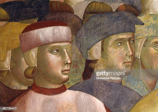 Italy Umbria Assisi Papal Basilica of San Francesco Upper Church Detail Two little boys following Pietro di Bernardone Fresco preearthquake