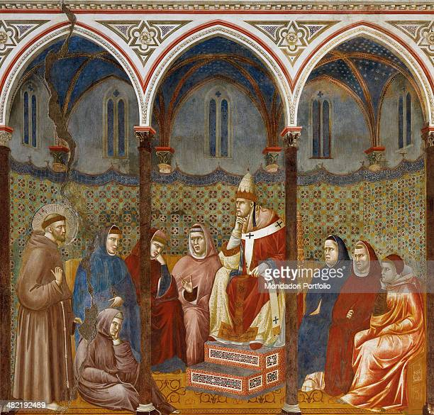 Italy Umbria Assisi Papal Basilica of St Francis of Assisi Upper Basilica Detail Saint Francis preaches in front of the Pope Honorius the 3rd and...